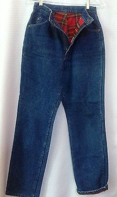 LL Bean Vintage 80's Jeans Women Size 10 (28 x 31.5) Red Flannel Lined Denim Exc
