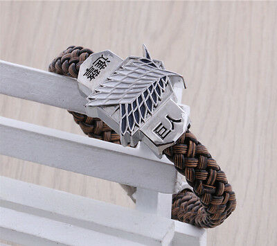 NEW One Attack On Titan Anime Cosplay Bracelet weave brown