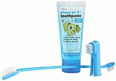 Petkin Plaque Dental Kit Dog Puppy Brush Toothpaste Plaque Bad Breath Gentle