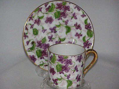 Vintage Chintz Violets Cup and Saucer marked 10027 Demitasse Size