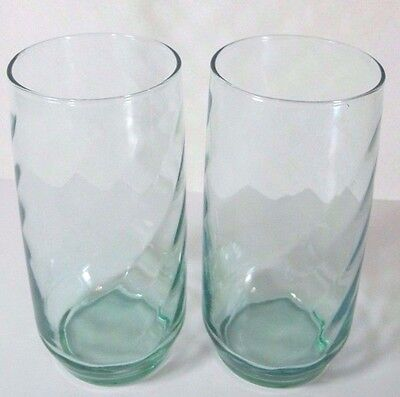Two (2) Libbey Libby green glass tumblers with diagonal lines.