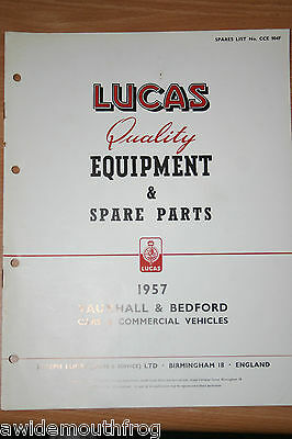 Lucas Equipment & Spares Vauxhall & Bedford Cars & Commercial Vehicles 1958