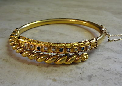 Victorian 14K Yellow Gold Textured Bypass Bracelet W/ Sapphires & Seed Pearls