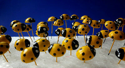 40 pcs Miniature Dollhouse Fairy Garden Accessories Yellow Ladybug Clay Decor