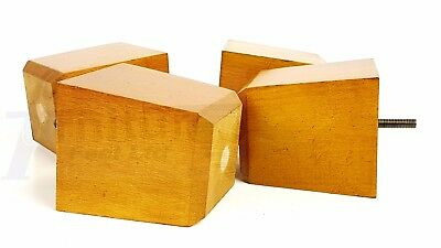4x SOLID WOOD FURNITURE LEGS/FEET 100mm HIGH - SOFAS, SETTEES, CHAIRS M8(8mm)