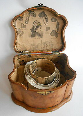 Victorian~SERPENTINE,DOVETAILED,HINGED BURL WOOD FITTED COLLAR BOX -c1900