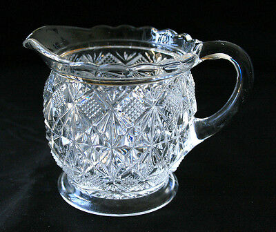 Vintage Clear Cut Glass Creamer Diamond Pattern Small Pitcher #QA24