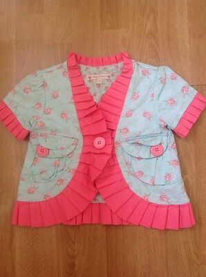 Great Molly N' Jack Girls Frilled Edged Summer Jacket Pink/blue Age 3-4Yrs Worn