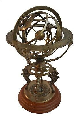 Large Brass Armillary Sphere Vintage Tabletop World Globe Nautical Astrolabe 18