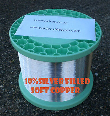 SILVER FILLED SOFT COPPER WIRE 0.60mm 22 GAUGE very high purity 10mts 10% SILVER