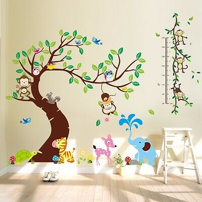 wandtattoo wandsticker kinderzimmer xxl deko tiere kinder wald affe baum baby eur 12 98. Black Bedroom Furniture Sets. Home Design Ideas