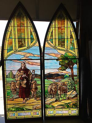 Antique Stained Glass 11 Foot Good Shepherd Window
