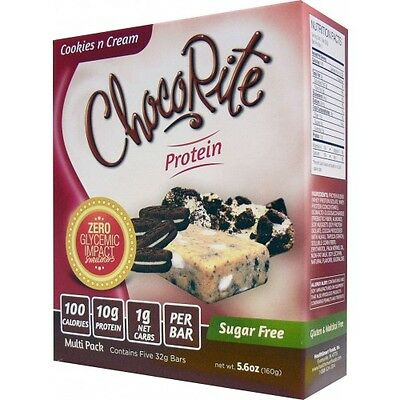 ChocoRite Sugar Free Protein Bars Cookies n Cream - 5 Bars, Low Carb, High Fiber