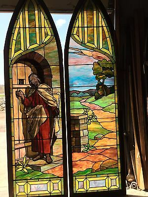 One Pair Jesus Is At Garden Door 10 Foot Tall Antique Stained Gla Layered Window