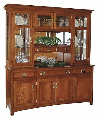 Amish Arts & Crafts Mission Hutch Buffet Server China Cabinet Solid Wood Glass