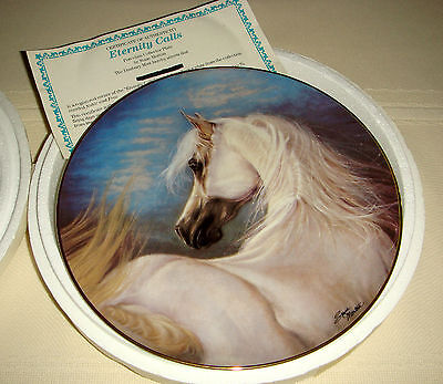 SUSIE MORTON Noble & Free Muscular White Horse & Long Mane ETERNITY CALLS Plate