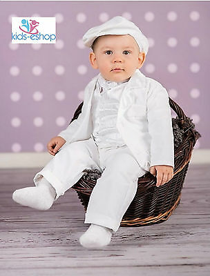 Baby Boy White Christening Smart Outfit Waistcoat Hat Formal w/ BODYSHIRT 0-18M