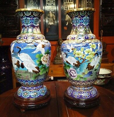 """Beautiful Pair of Cloisonne Grand Vase Crane Scene 23"""" with Wooden Stand"""
