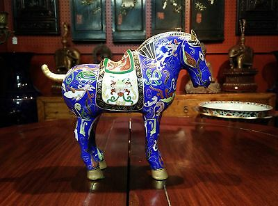 "Gorgeous Chinese Vintage Blue Cloisonne Copper Enamel Horse Figurine 9"" Tall"