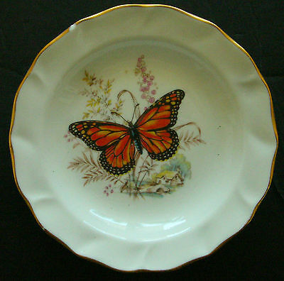 """MINI PLATE BUTTERFLY IN A SPRING TIME 4 1/2"""" diameter CERAMICS ENGLAND"""