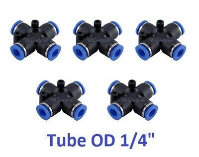 """5pcs Pneumatic Cross Union Push In To Connect Fitting Tube OD 1/4"""" Quick Release"""