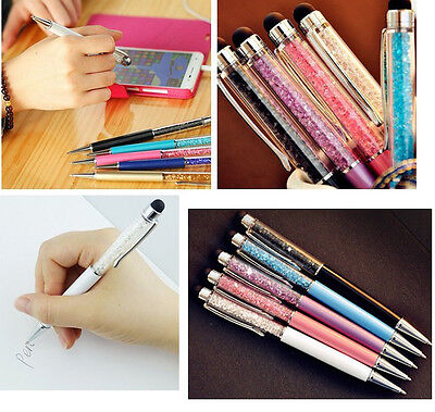 2 in 1 Crystal Writing Stylus Touch Screen Pen For IPhone IPad Samsung Tablet