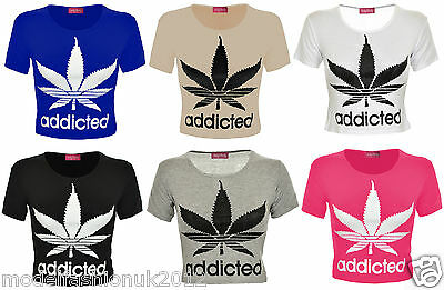 Womens Casual Gym/Fitness Cap Sleeve Addicted Weed Leaf Print Tee Vest Crop Tops