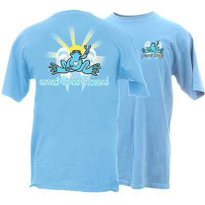 New Peace Frogs Saved. Loved, Blessed Large Adult T-Shirt