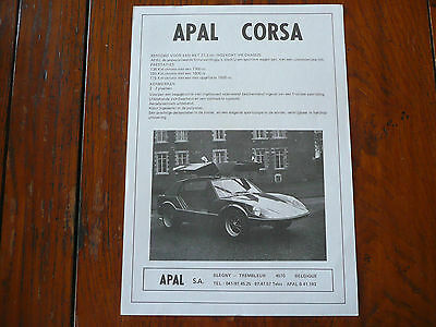Brochure Prospekt Documentation Catalogue Dépliant 1977 APAL CORSA - Rare