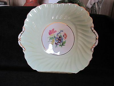 "Aynsley Bone China England Pastel Green Swirl 10"" Hdld Serving Dish Plate"
