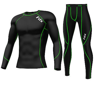 FDX Mens Compression Armour Base layer Top Skin Fit Shirt + Leggings / pants set