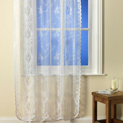 Chantilly Floral Voile Net Curtain Vintage Lace Panel - White & Ivory
