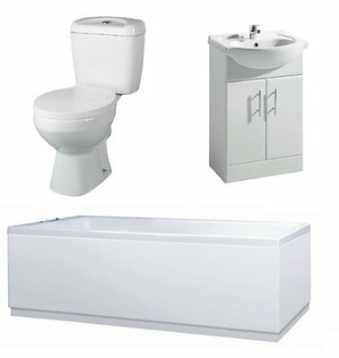 Bathroom Suite 1700mm Bath 550mm Vanity Unit Close Coupled Toilet Pan