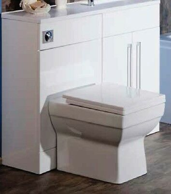 Ceramic Square BTW Back Wall Toilet Pan Concealed Cistern Soft Close Seat