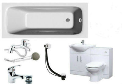 Bathroom Suite 1700mm Bath 550 Vanity Cabinet 500x300mm WC Unit BTW Pan Taps