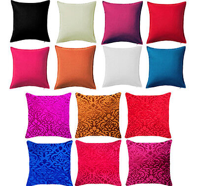 New Plain Dyed Cushion Covers 100% Percale Cotton & Velvet/Chenille Case Cover