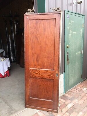Rg 11 Single Antique Oak To Panel Pocket Door With Veneer Damage