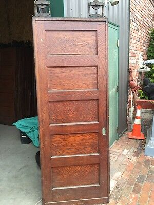 Rd 15 One Single Oak Flat Five Panel Pocket Door