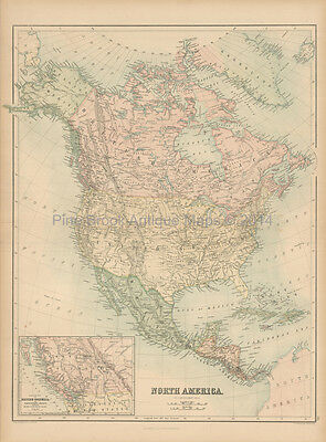 North America Antique Map Black 1867 Original