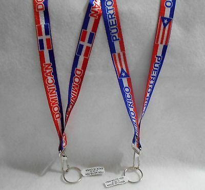 Dominican Republic or Puerto Rico Flag Lanyard Key Chain 22 inch (ONE)