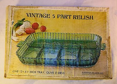 Vintage Indiana Glass Olive Green 5-Part Relish Serving Tray Fruit Pattern #0856