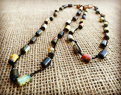 Recycled Magazine Paper Tubes Eco Necklace Handmade by a Cambodian Charity