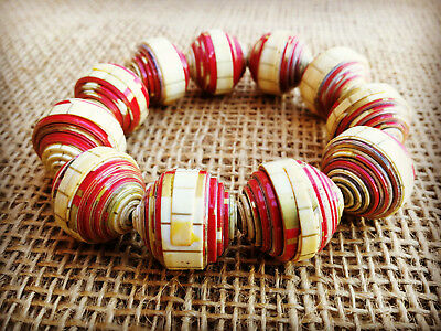 Recycled Paper Beads Elasticated Bracelet, Red & Cream Handmade in Cambodia