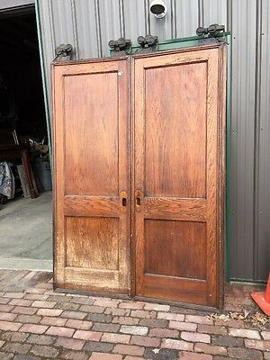 R D 16 One Pair Flat To Panel Oak Pocket Doors Antique