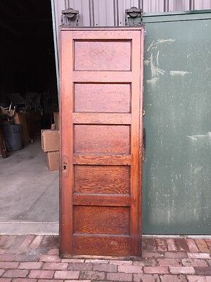 R D 8 One Single Oak Flat Panel Pocket Door Antique