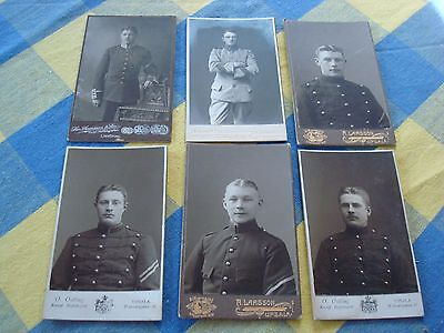 6 antique militaria cabinet photographs from Sweden