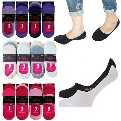 4, 6 or 12 Pairs Mens Ladies Cotton Rich Invisible Socks Trainer Liners 4-7 6-11