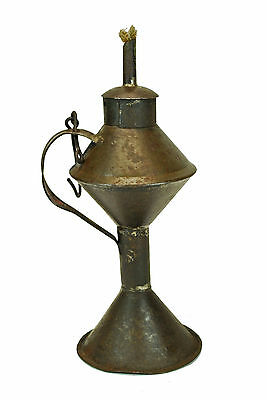 Antique Tin Whale Oil Lamp, Fat or Grease Light, Dutch.