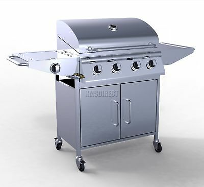 4 Burner BBQ Gas Grill Stainless Steel Barbecue + 1 Side Silver Outdoor Portable