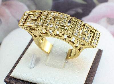 Greek Key Design Ring,18k Gold GF with Crystals, Size US 7, 8, 9, 10, Gift Box